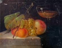 STILL LIFE PAINTING OF FRUIT AND WINE BY CREMER