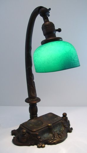 1001: EMERALITE DESK LAMP WITH SIGNED ETCHED SHADE