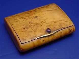 BURLED OLIVEWOOD BOX 14k GOLD & SCARAB CLASP