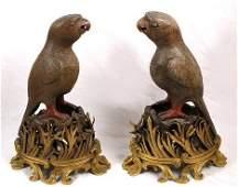 1052: PR 19th C JAPANESE ORMOLU MOUNTED BIZEN WARE BIRD