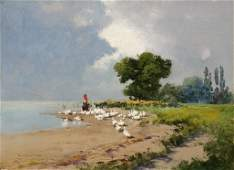 1070 LASZLO NEOGRADY PAINTING GIRL WITH GEESE