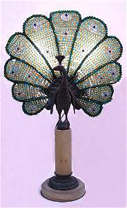 1092: FRENCH DECO GLASS BEAD PEACOCK LAMP