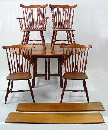 1310: HEYWOOD WAKEFIELD DINING TABLE & 6 WINDSOR CHAIRS