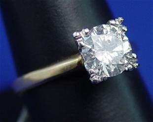 1.33ct LADIES DIAMOND SOLITAIRE 14k SZ 7.75
