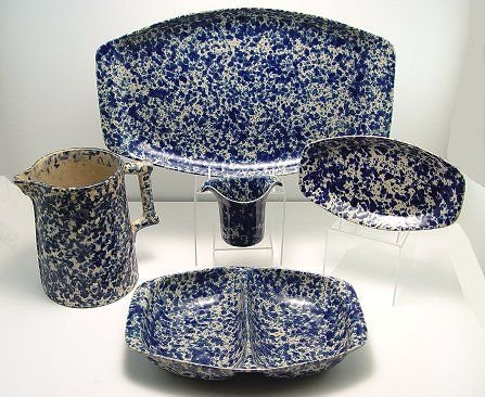 1297: 40 PC GROUP OF BENNINGTON POTTERY BLUE SPONGEWARE - 2