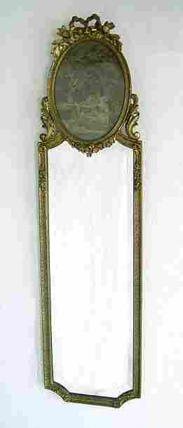 GILT WOOD FRAMED MIRROR WITH TAPESTRY