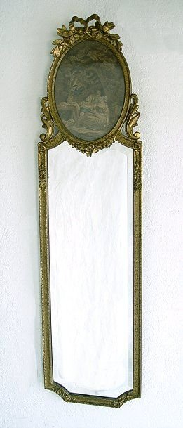 1008: GILT WOOD FRAMED MIRROR WITH TAPESTRY