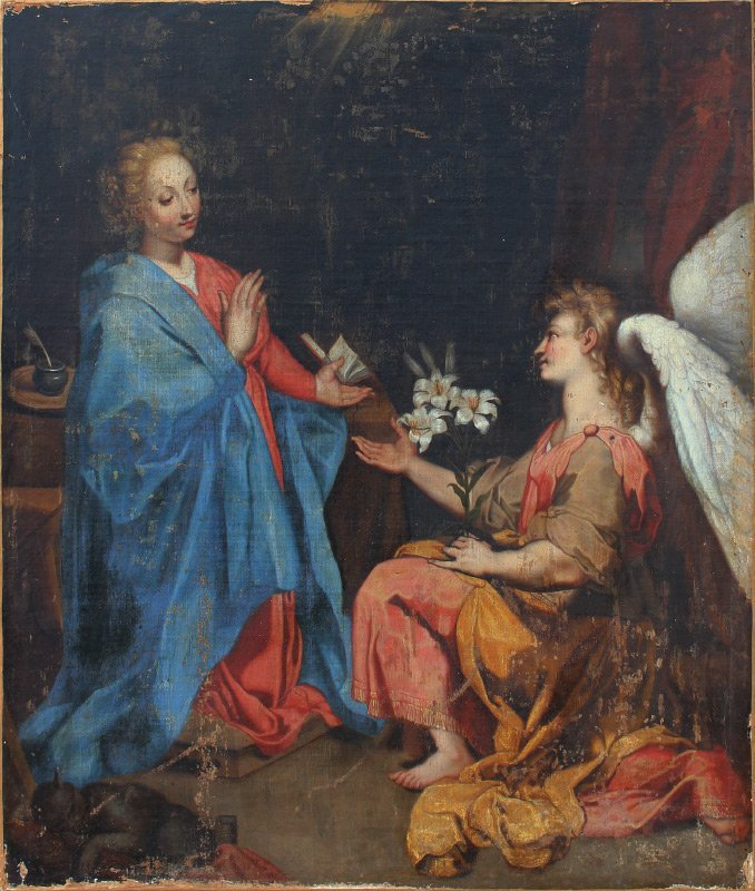 FINE EARLY RELIGIOUS PAINTING ANNUNCIATION 17TH C