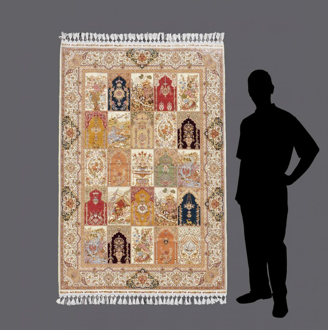 "TURKISH HAND KNOTTED SILK ON COTTON RUG 5'6"" x 7'9"""