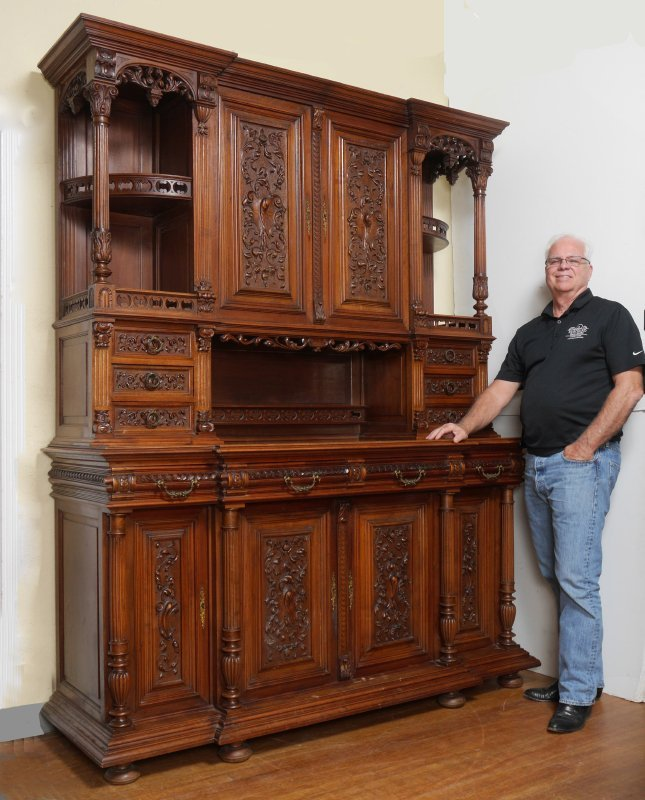 PROFUSELY CARVED GOTHIC REVIVAL SIDEBOARD