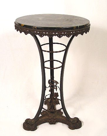 3: 1920'S MARBLE TOP WROUGHT IRON TABLE O.W No 40