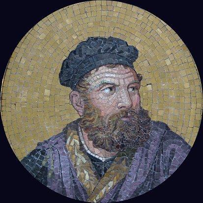 10: RARE ANTIQUE MOSAIC TILE PORTRAIT OF A PHILOSOPHER