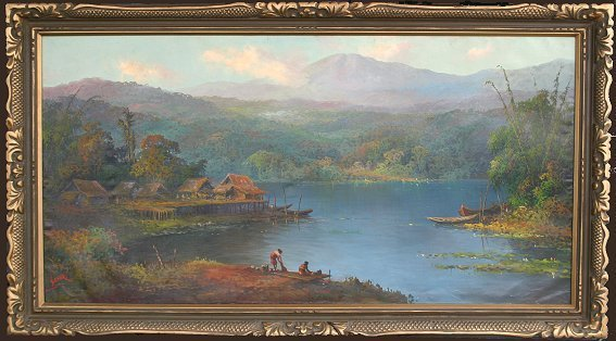35: INDONESIAN PAINTING OF A LAGOON BY BASAR