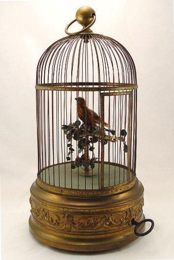 1: LARGE SINGING BIRD AUTOMATON 20 INCH CAGE