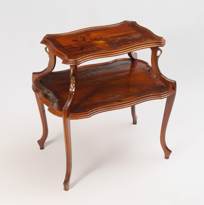 EMILE GALLE MARQUETRY INLAID 2 TIER TABLE