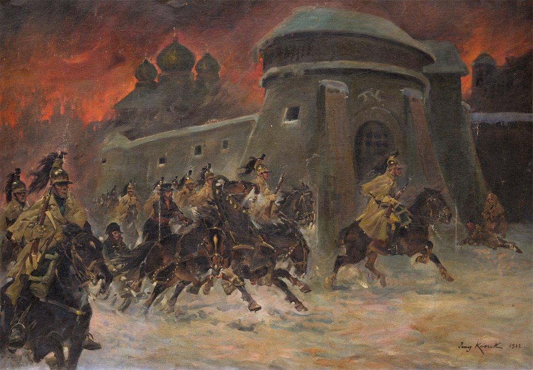 LARGE JERZY KOSSAK POLISH PAINTING 1922