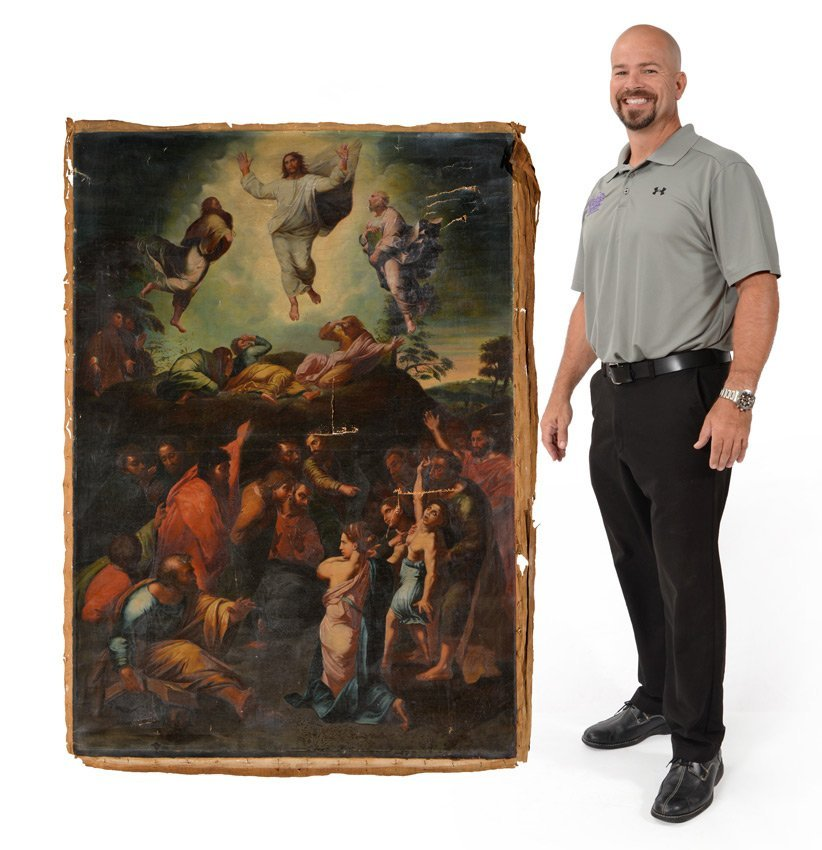 LARGE OLD MASTER STYLE OIL/CANVAS ASCENSION OF CHRIST