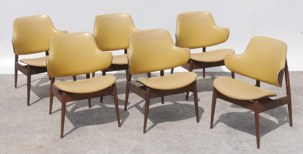 6 KODAWOOD CLAM SHELL MID CENTURY ARM CHAIRS