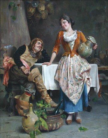 1019: EUGENIO ZAMPIGHI ITALIAN GENRE PAINTING