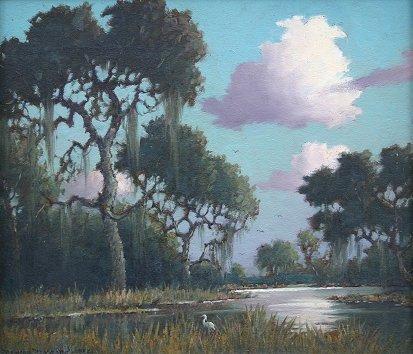 1142: B.B. MOORE HILLSBOROUGH RIVER FLORIDA PAINTING