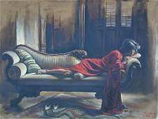 1294 HARRY MCCORMICK SUZEE ON COUCH PAINTING NR