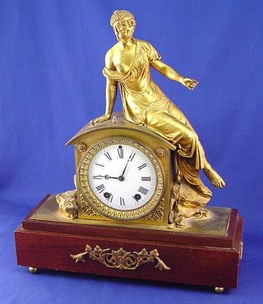 1009: SETH THOMAS GILT BRONZE FIGURAL CLOCK
