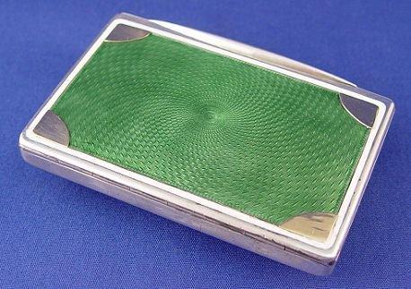 1011: FRENCH GUILLOCHE CIGARETTE CASE 800 silver & 14k