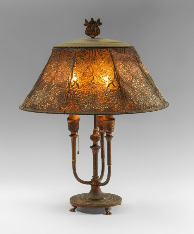 TIFFANY FURNACES BRONZE LAMP WITH MESH SHADE