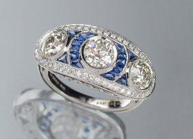 Platinum 2.92 Ct Diamond Ring W/ Sapphires Sophia