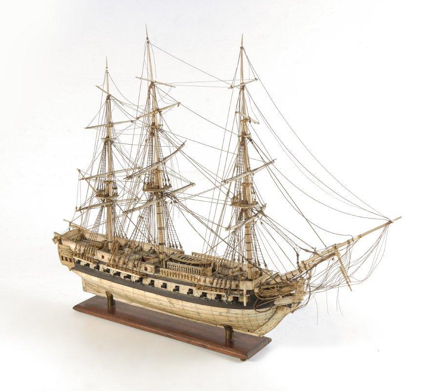 NAPOLEONIC PRISONER OF WAR CARVED SHIPS MODEL