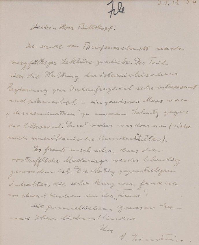 IMPORTANT 1936 ALBERT EINSTEIN ALS SIGNED LETTER