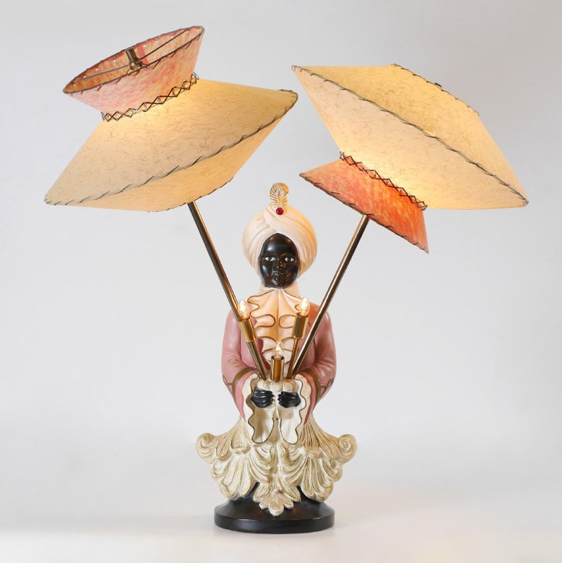 MID CENTURY BLACKAMOOR TABLE LAMP