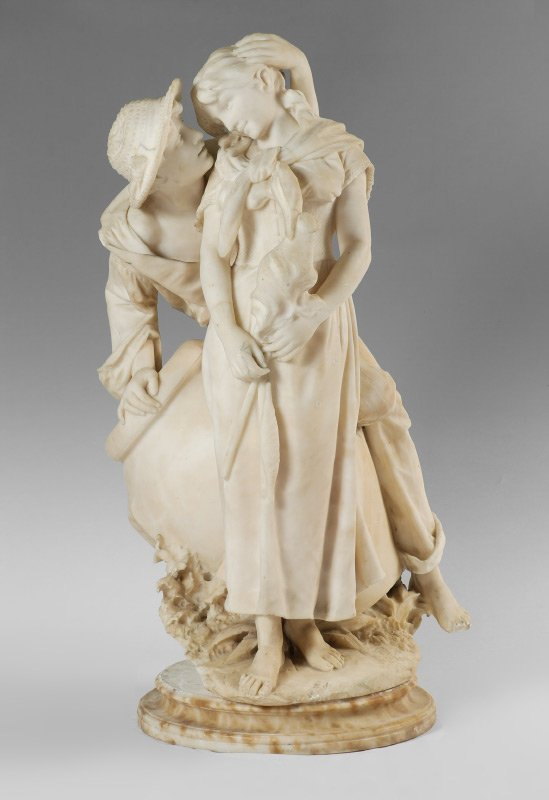 LARGE ALABASTER SCULPTURE OF AMOROUS YOUNG COUPLE
