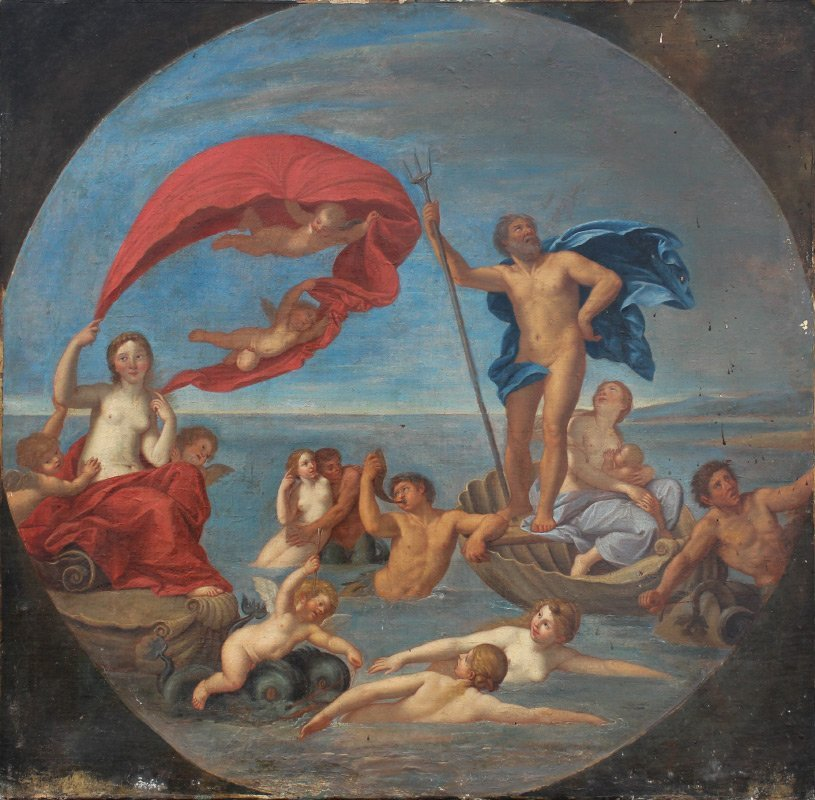 EARLY PAINTING NEPTUNE AMPHITRITE AFTER ALBANI