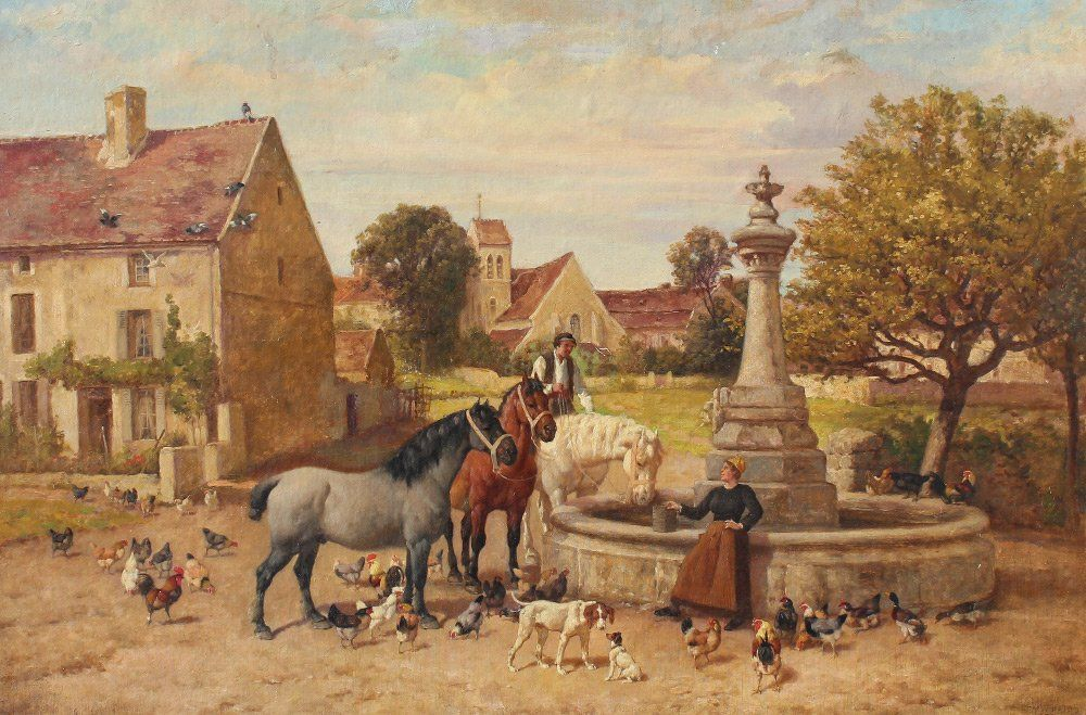 BAIRD GENRE PAINTING WITH HORSES, DOGS AND ANIMALS