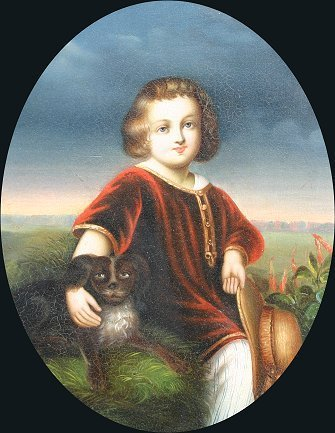1: 19TH C. ENGLISH PAINTING BOY AND DOG SPANIEL?