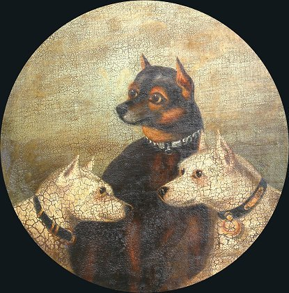 2: EARLY OIL PAINTING OF MANCHESTER TERRIER/DOGS