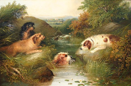 10: G. ARMFIELD PAINTING DOGS IN LANDSCAPE WITH RAT