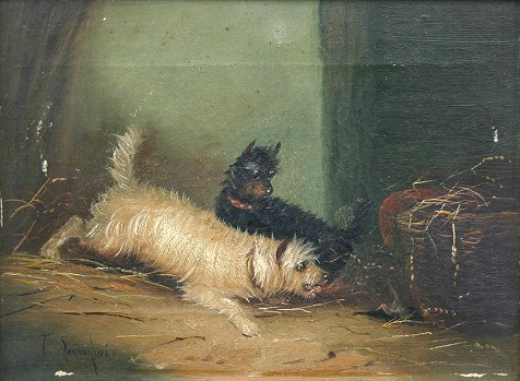 15: LANGLOIS PAINTING 2 TERRIERS CHASING RAT