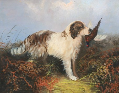 16: SPANIEL WITH BIRD PAINTING AFTER LANGLOIS