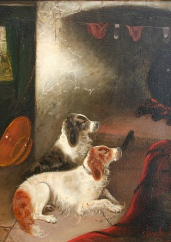 23: E. ARMFIELD PAINTING SPANIELS BY FIREPLACE
