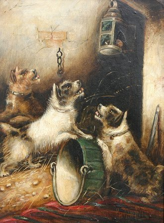24: G. ARMFIELD PAINTING 3 TERRIERS WITH RAT IN LAMP