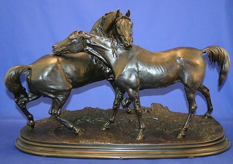 116: 19C. BRONZE AFTER P.J. MENE OF STALLION AND MARE