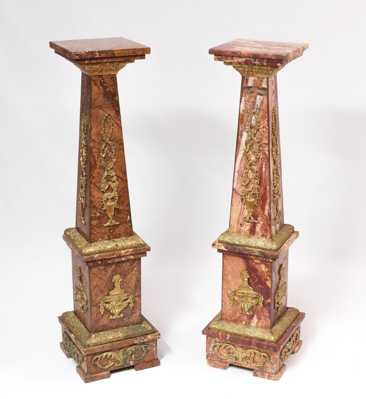PAIR MARBLE AND GOLD GILT METAL PEDESTALS