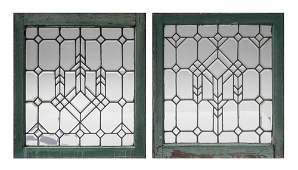 PAIR ART DECO BEVELED LEADED GLASS PANELS
