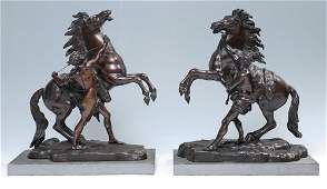 PAIR AFTER COUSTOU BRONZE MARLY HORSE SCULPTURES