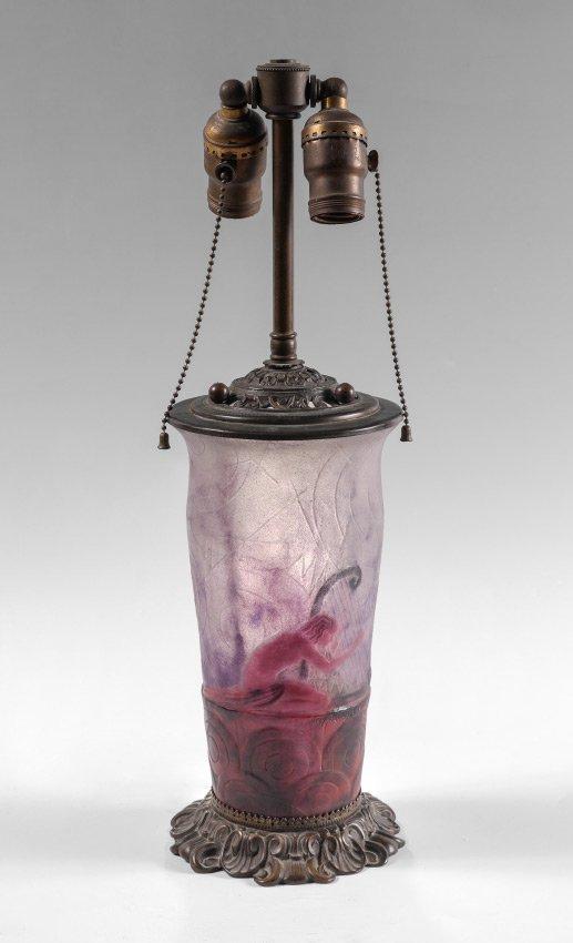 GABRIEL ARGY-ROUSSEU PATE DE VERRE ART GLASS LAMP