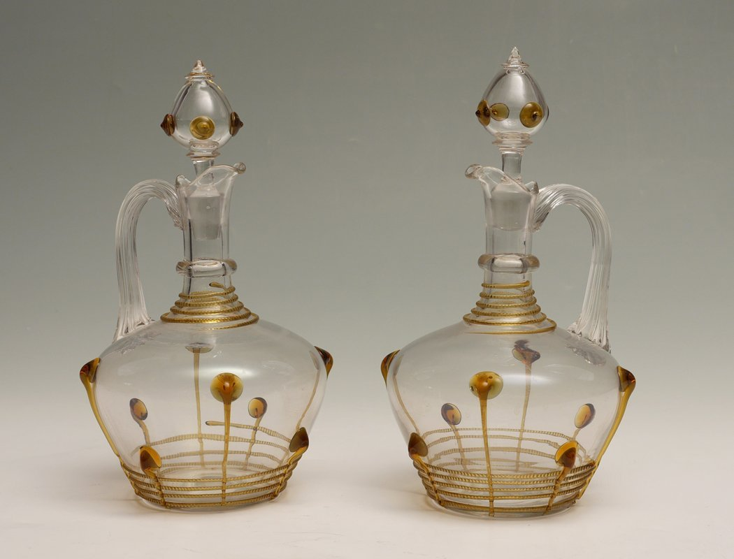 PAIR BOHEMIAN ART GLASS DECANTERS