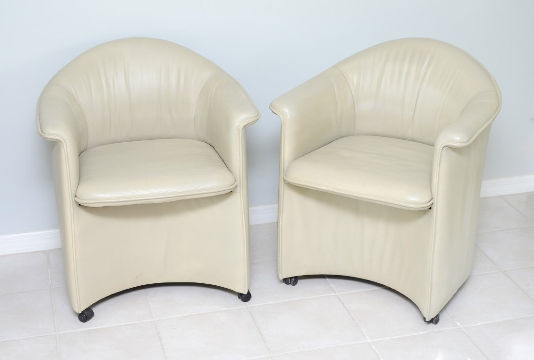 PAIR OF DE SEDE LEATHER ARM CHAIRS