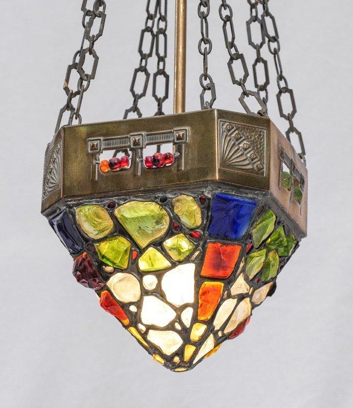 AUSTRIAN JEWELED CHUNK GLASS HANGING LIGHT